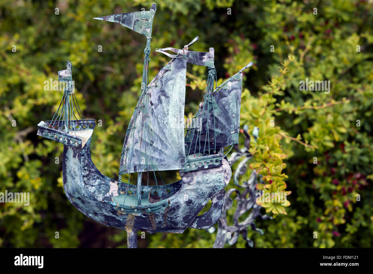 Metalwork sculpture of a ship at Tintinhull Garden, Somerset. - Stock Image