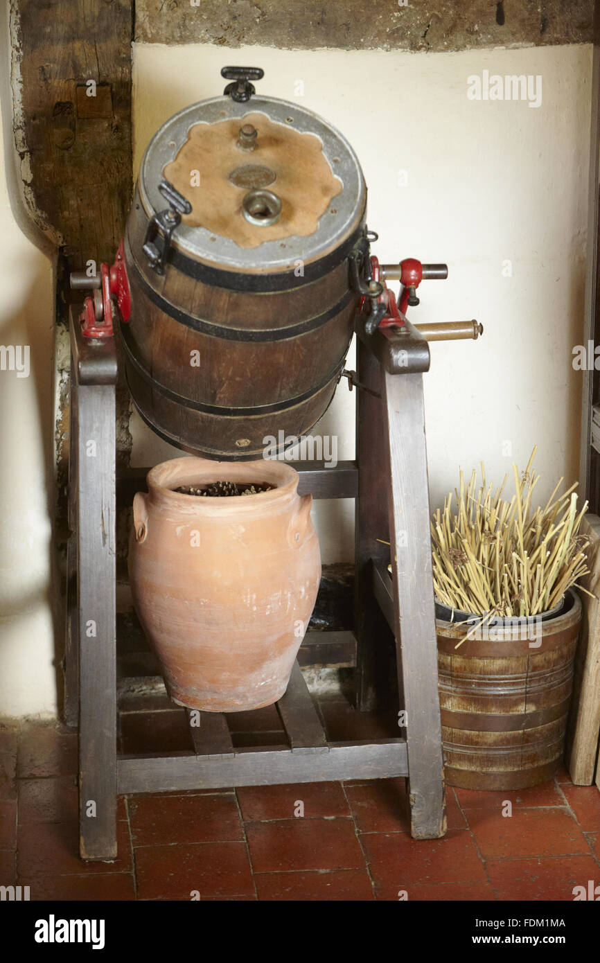 Nineteenth-century butter churn by Waide and Sons Ltd at Moseley Old Hall, Staffordshire. Stock Photo