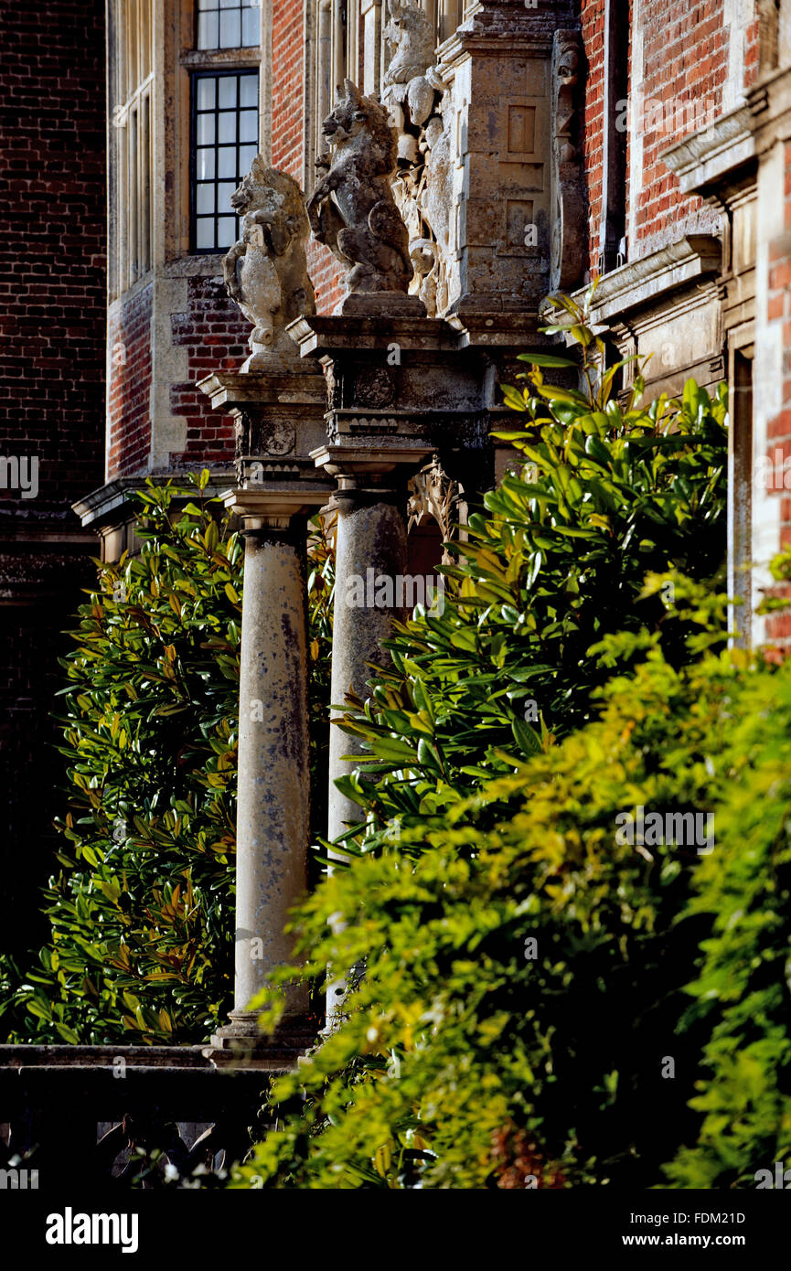 Oblique view of the entrance on the south front of the Hall on the Blickling Estate, Norfolk. - Stock Image