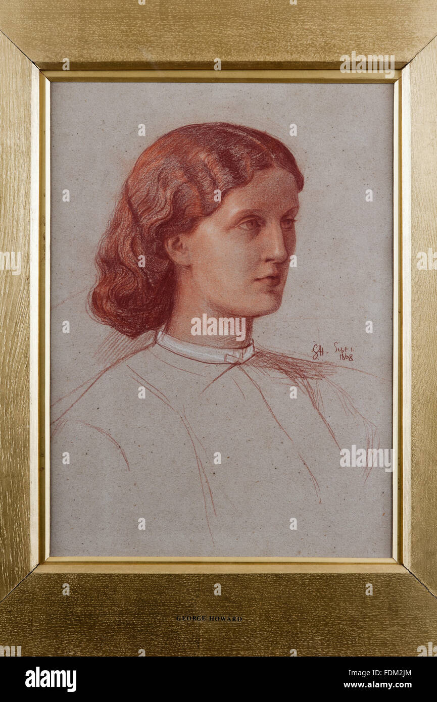 PORTRAIT OF A WOMAN, a chalk drawing by George James Howard, 9th Earl of Carlisle (1843-1911), in the North Spare - Stock Image