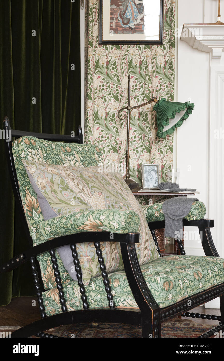 Morris And Co Adjustable Chair, Upholstered In William Morris U0027Snakesheadu0027  Chintz, In