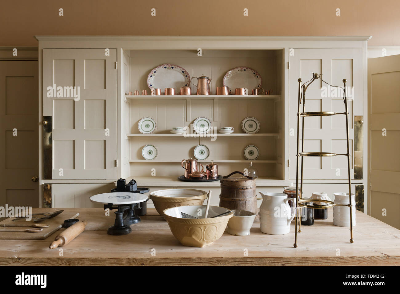 The Kitchen With The Philip Webb Dresser At Standen, West Sussex.   Stock  Image