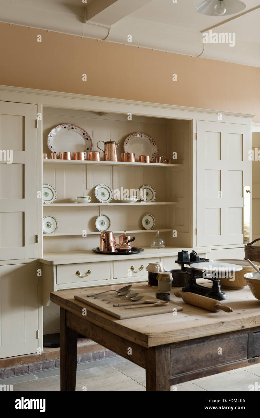 The Philip Webb Dresser In The Kitchen At Standen, West Sussex.   Stock  Image