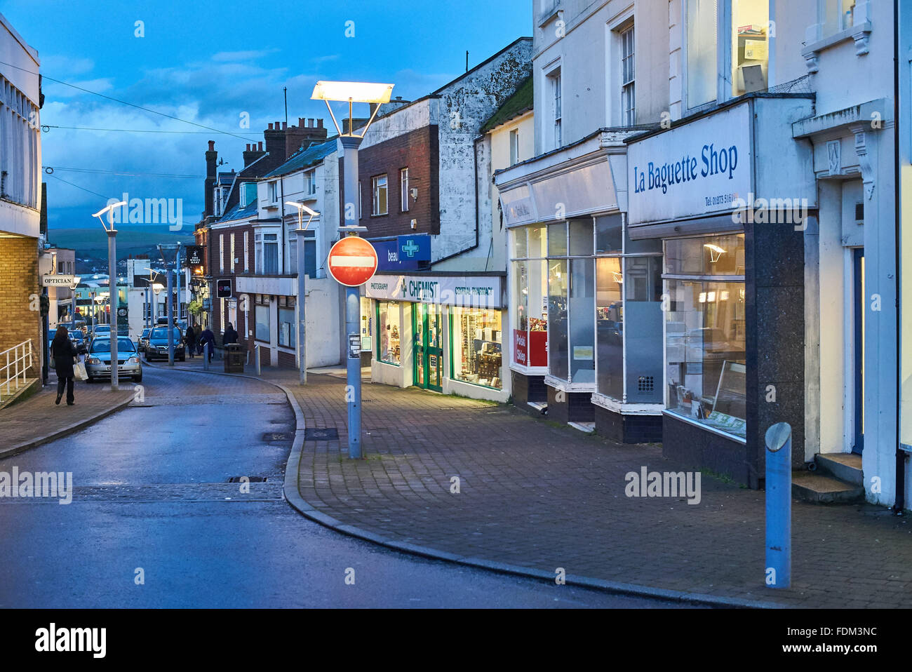 Newhaven High Street at Evening - Stock Image