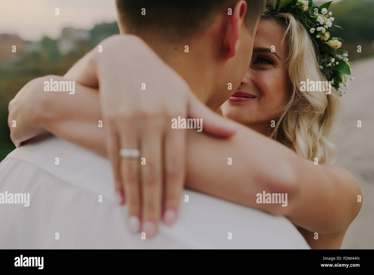 Wedding couple on the nature - Stock Image