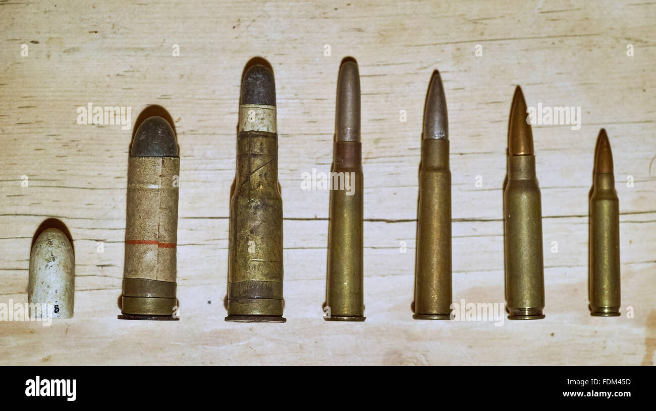 Collection of antique bullets - Stock Image