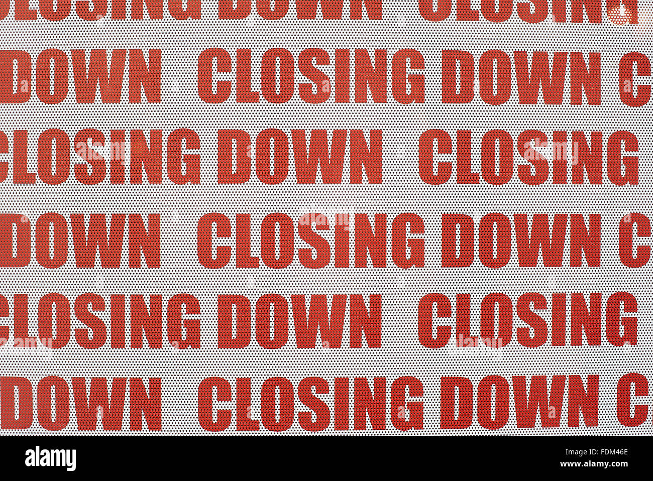 Closing Down Window Sign - detail - Stock Image