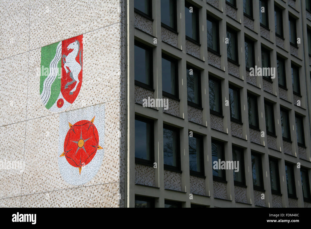 tax office,detmold,north rhine westphalia,coat of arms Stock Photo