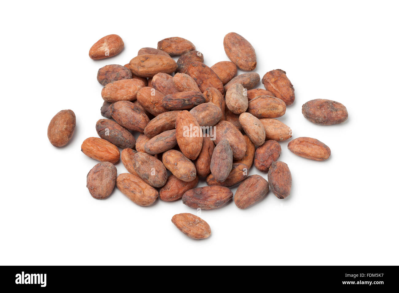 Fair trade cocao beans on white background - Stock Image