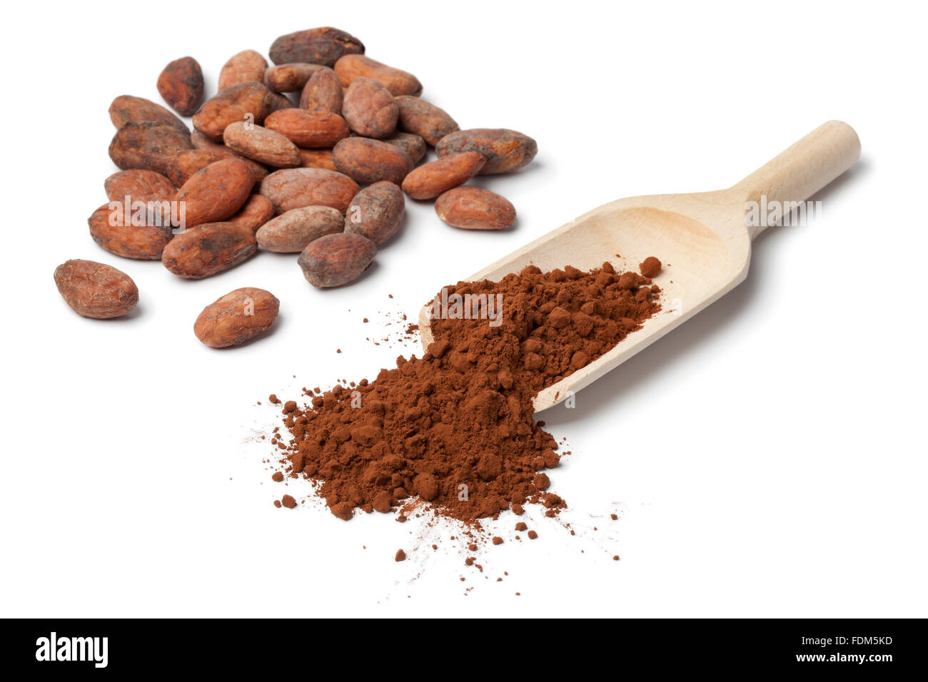 Fair trade cocao beans and cocao on white background - Stock Image