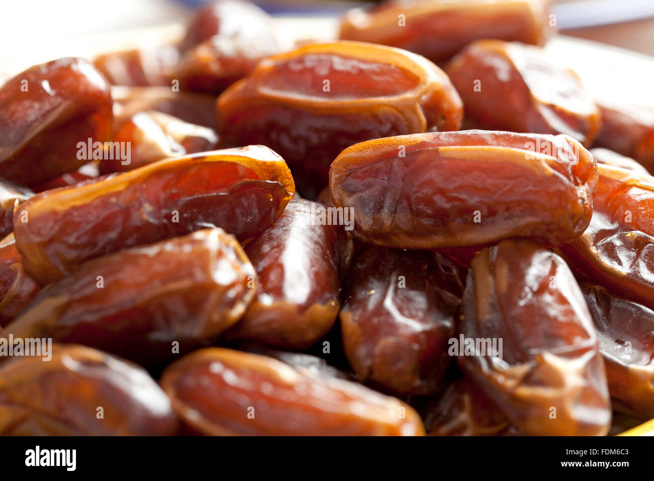 Heap of preserved dates close up - Stock Image