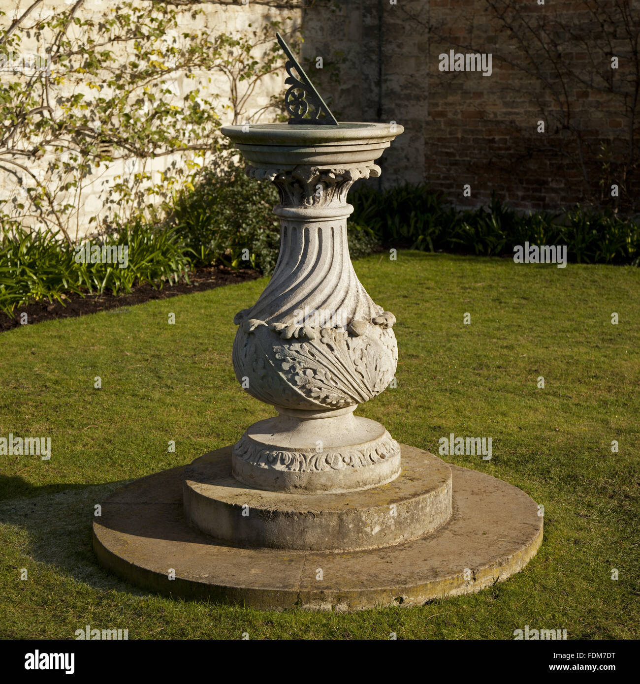 Stone sundial, signed B.Cox 1785, at Anglesey Abbey Garden Stock ...