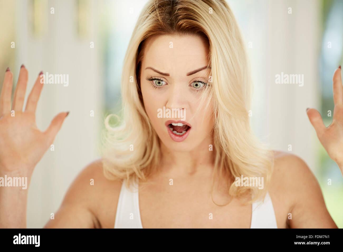 Shocked woman - Stock Image