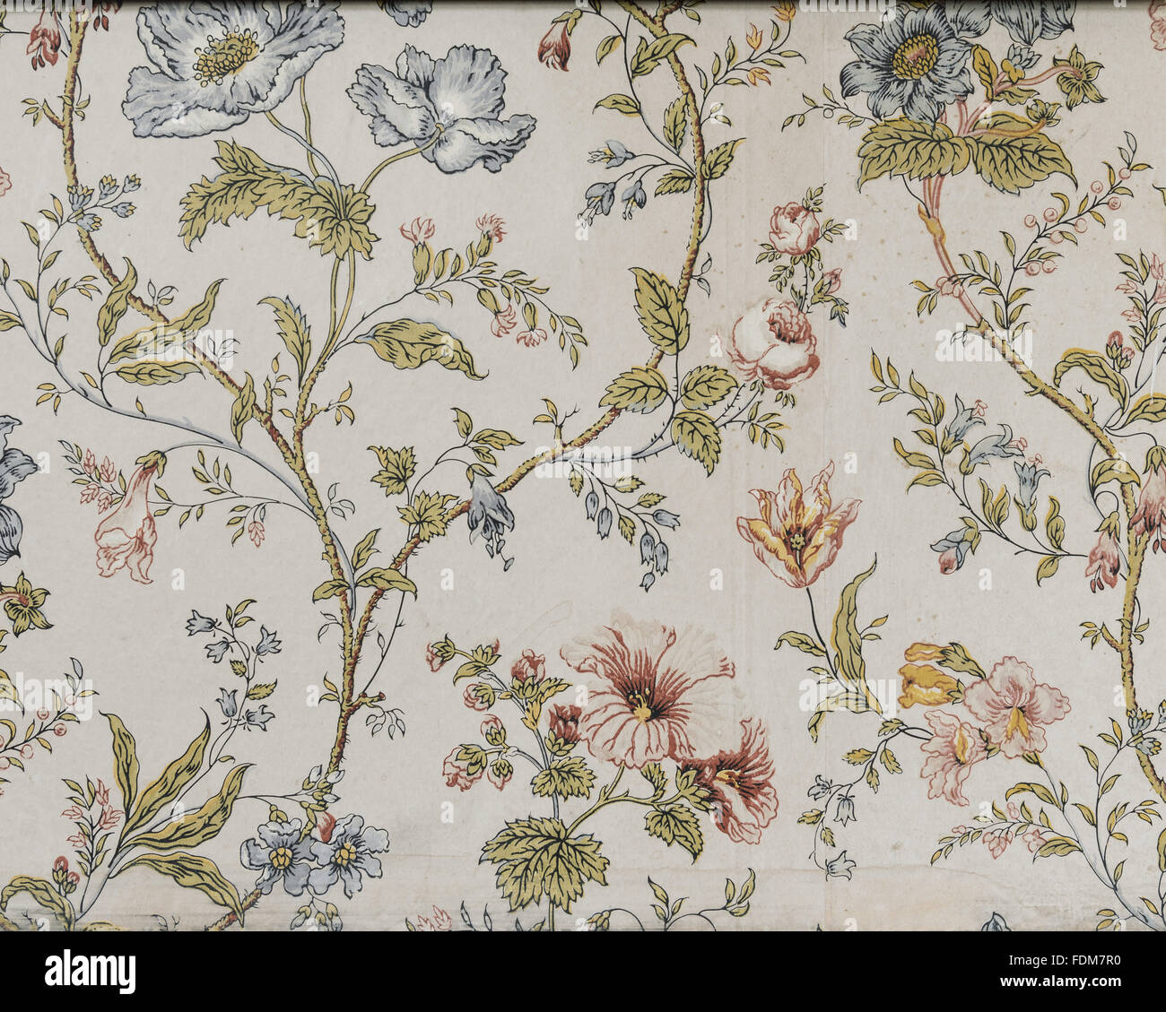 Detail of late nineteenth-century wallpaper with floral design in the Wisteria Bedroom at Dunster Castle, Somerset. - Stock Image