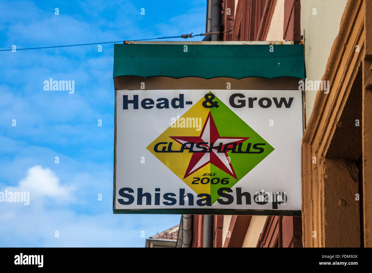 Sign over a cannabis shop in the Altstadt quarter of the University town of Heidelberg. - Stock Image