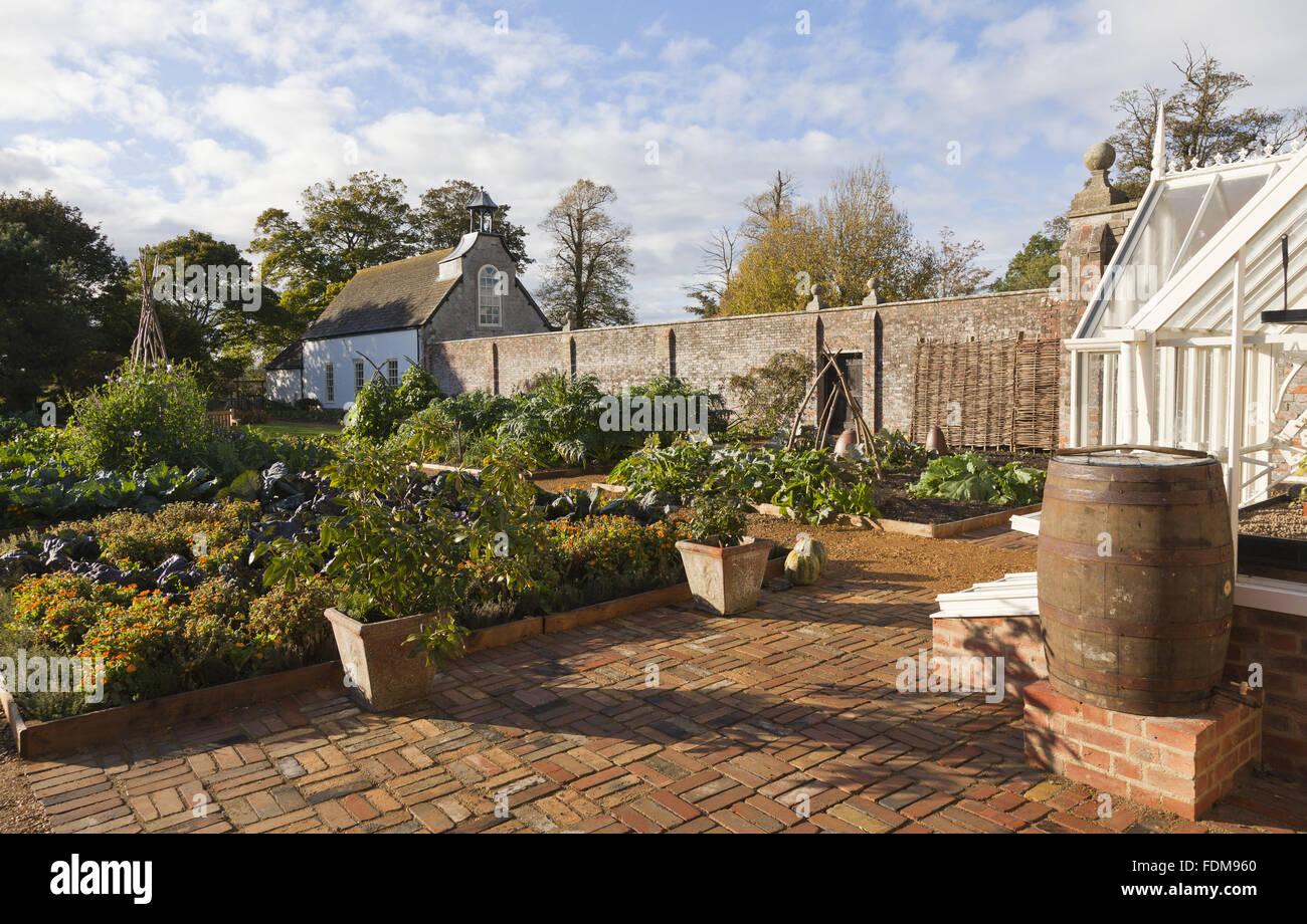The Victorian Kitchen Garden in late summer at Avebury Manor Stock ...