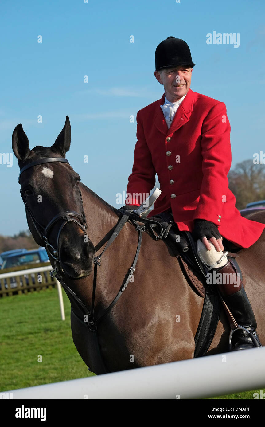 course official in red jacket riding horse at fakenham races, north norfolk, england Stock Photo