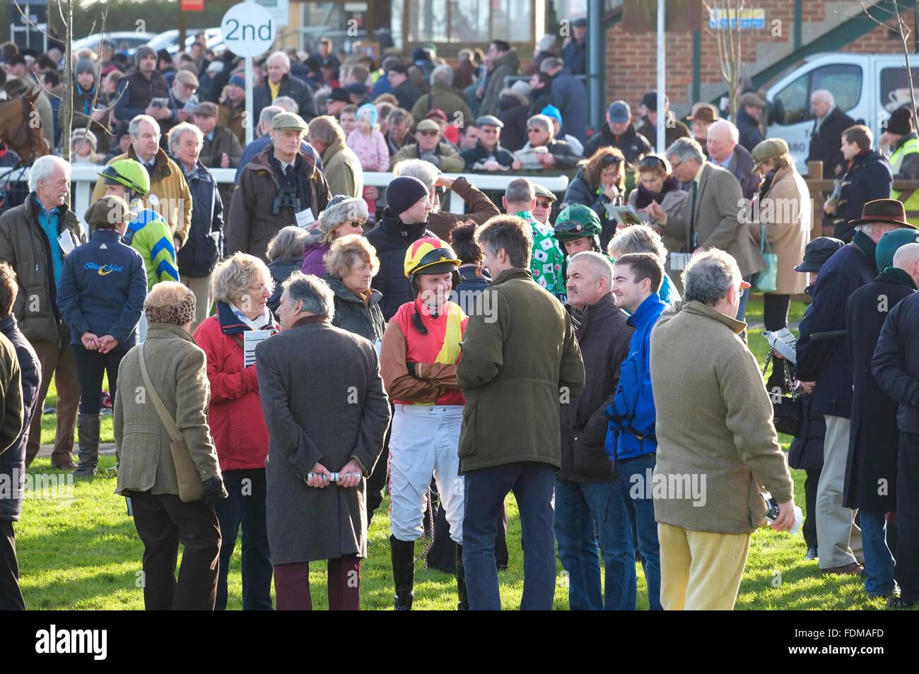 people standing in paddock at fakenham races, north norfolk, england Stock Photo