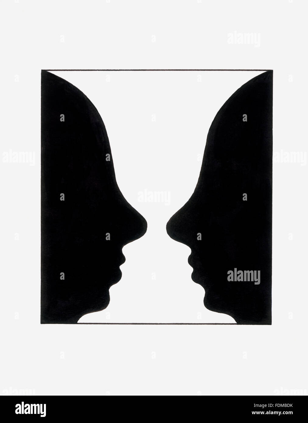 Reversible figure, forming shape of two faces or vase-like shape Stock Photo
