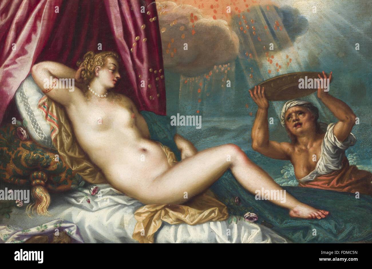 DANAE AND THE SHOWER OF GOLD, 1600 to 1649, after Hans Rottenhammer I (Munich 1564 ¿ Augsburg 1625), oil on - Stock Image