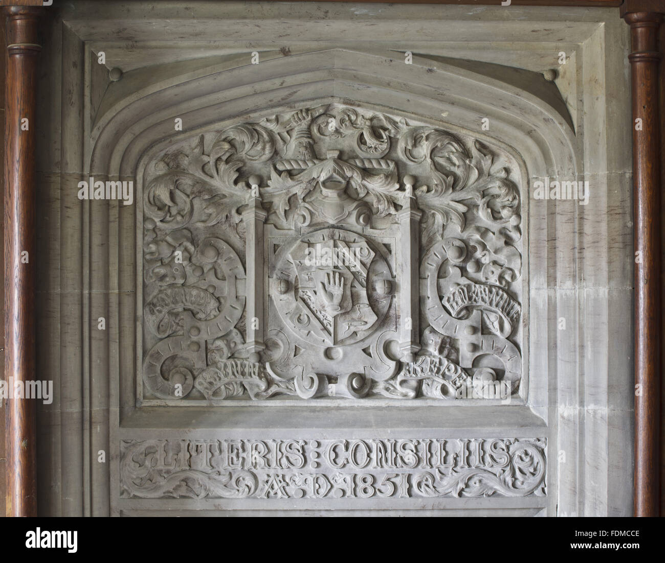 The carved arms (Kay-Shuttleworth?) by Sir Charles Barry, dated 1851, above the door in the Library at Gawthorpe - Stock Image