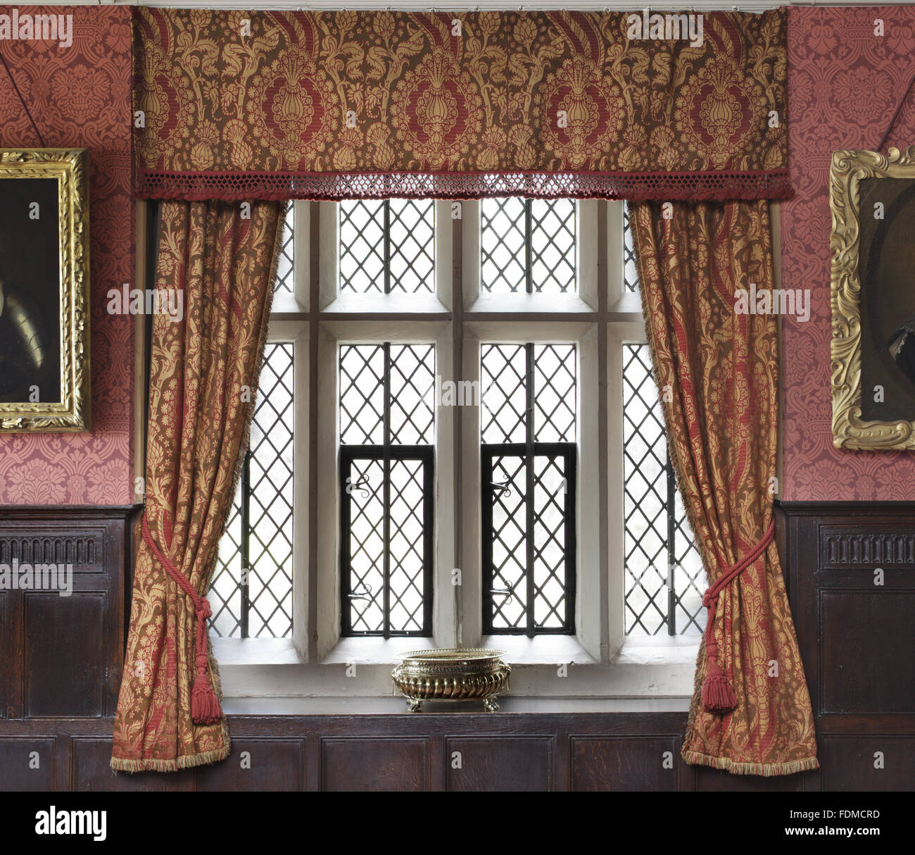 Window, Wallpaper And Curtains In The Dining Room At Gawthorpe Hall,  Lancashire. The Red Flock Wallpaper Was Supplied In 1852 By Crace Of  London, ...