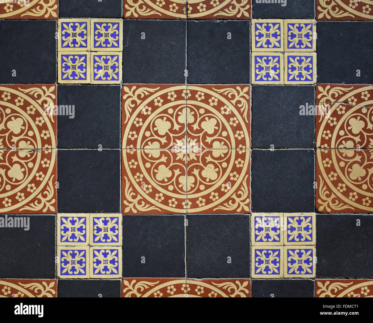 Detail of floor tiles installed in the Porch by Sir Charles Barry in 1851 at Gawthorpe Hall, Lancashire. - Stock Image