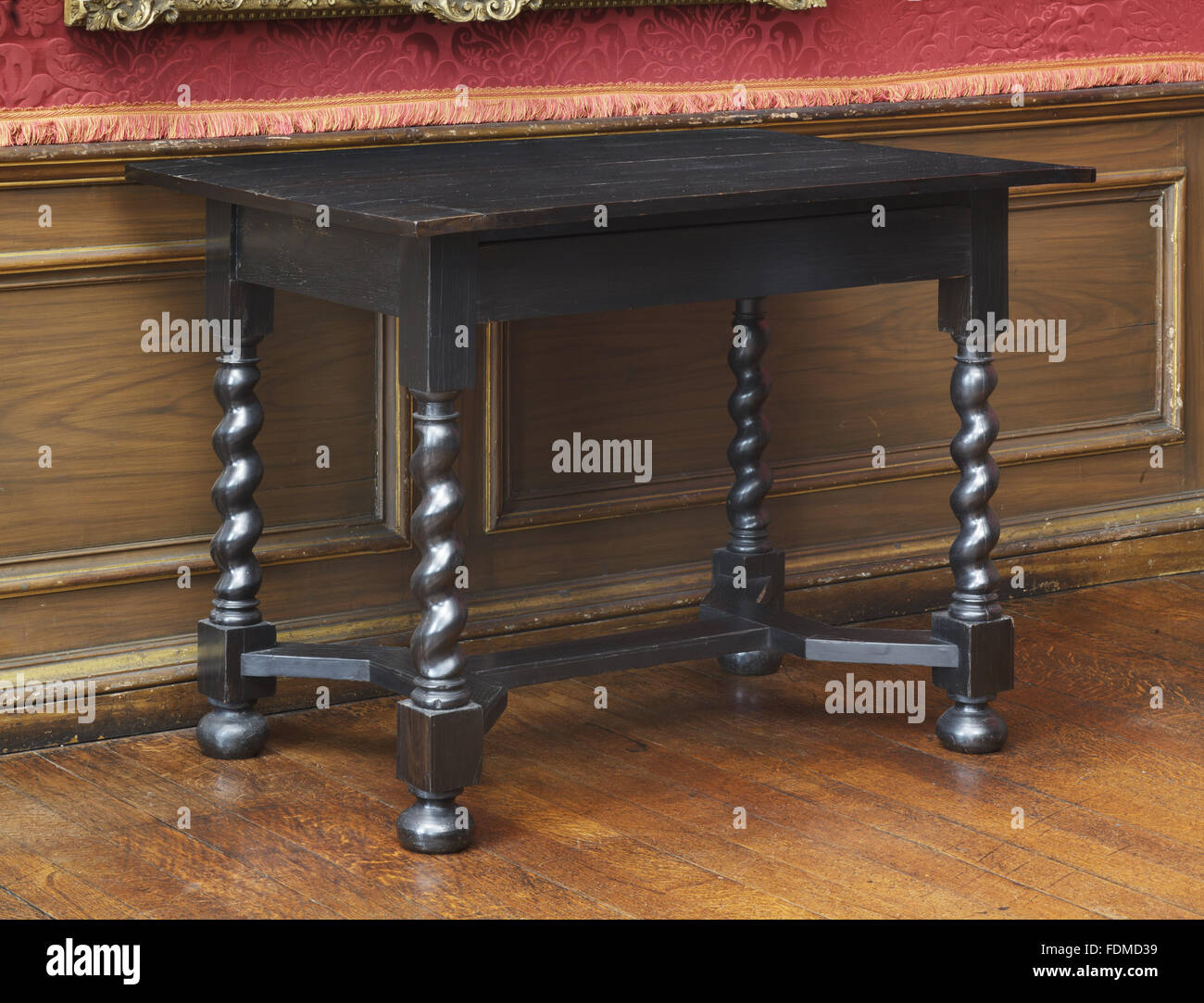 A Plain Ebonised Side Table Of 1675 With Four Twist Turned Legs Terminating  In Bun Feet, At Ham House, Surrey. The Legs Are Joined Together By A Flat  ...