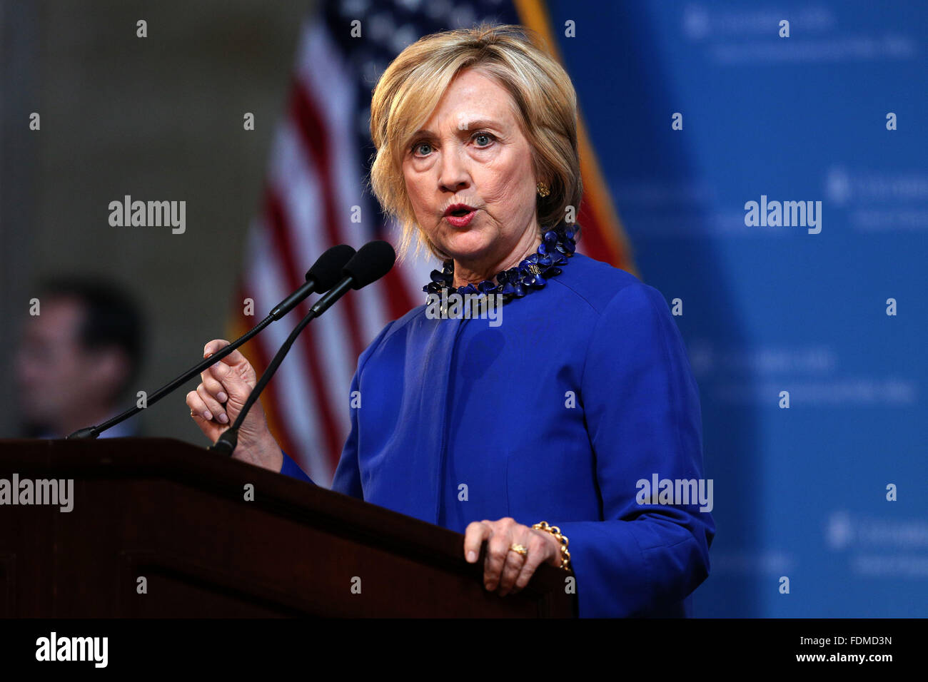Democrat presidential candidate Hillary Clinton speaks during a campaign speech at Columbia University in New York - Stock Image