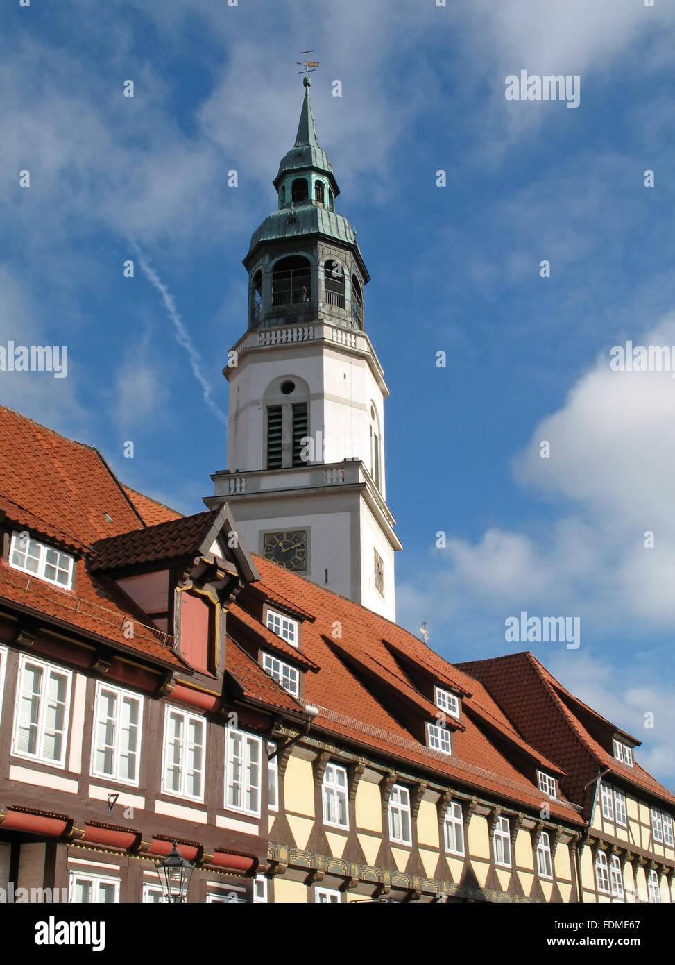 steeple,celle,st. marien - Stock Image