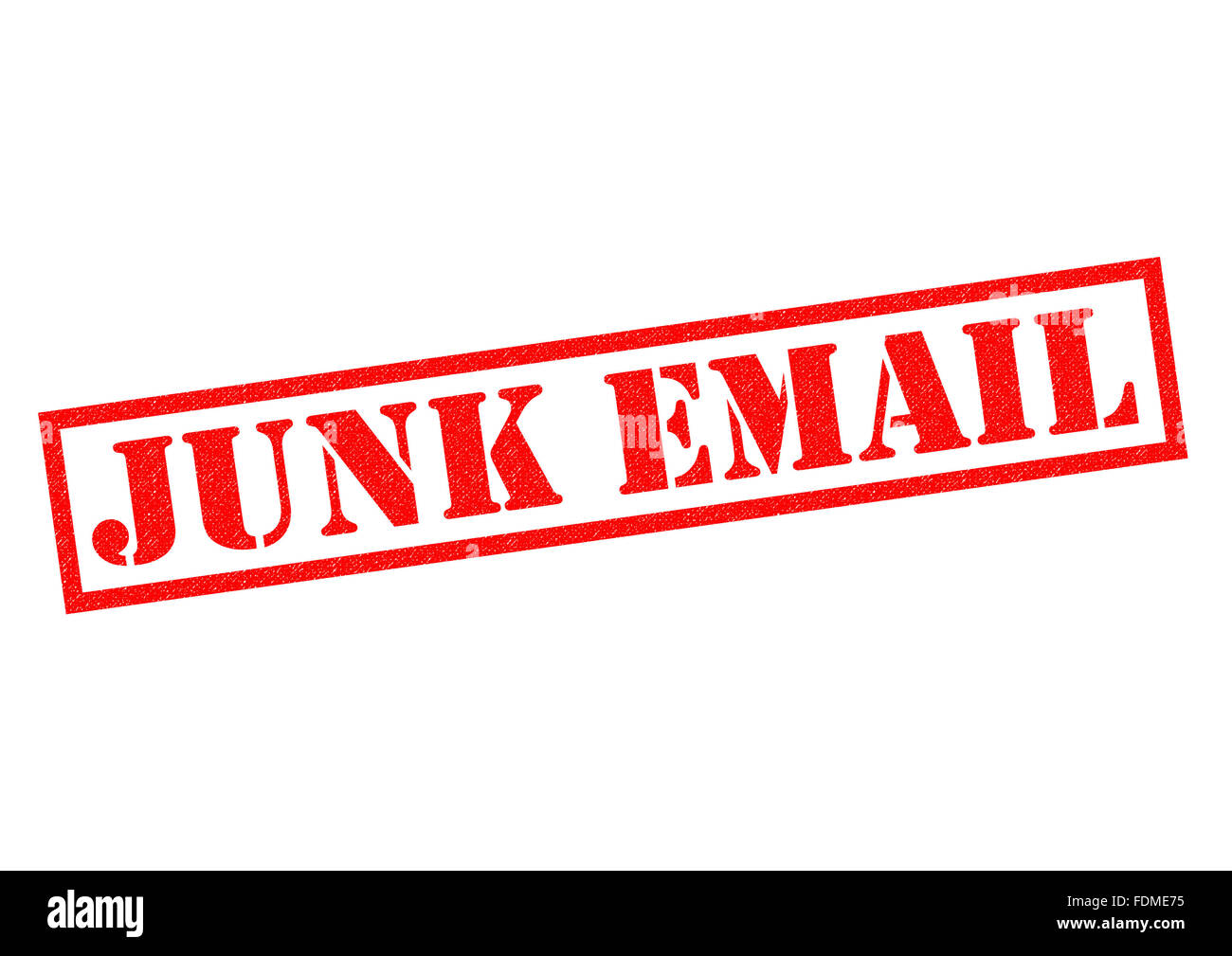 JUNK EMAIL red Rubber Stamp over a white background. - Stock Image