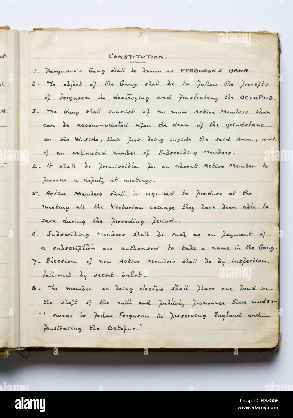 Photograph of the hand-written constitution in the 'Boo' (book) of Ferguson's Gang who were a group - Stock Image
