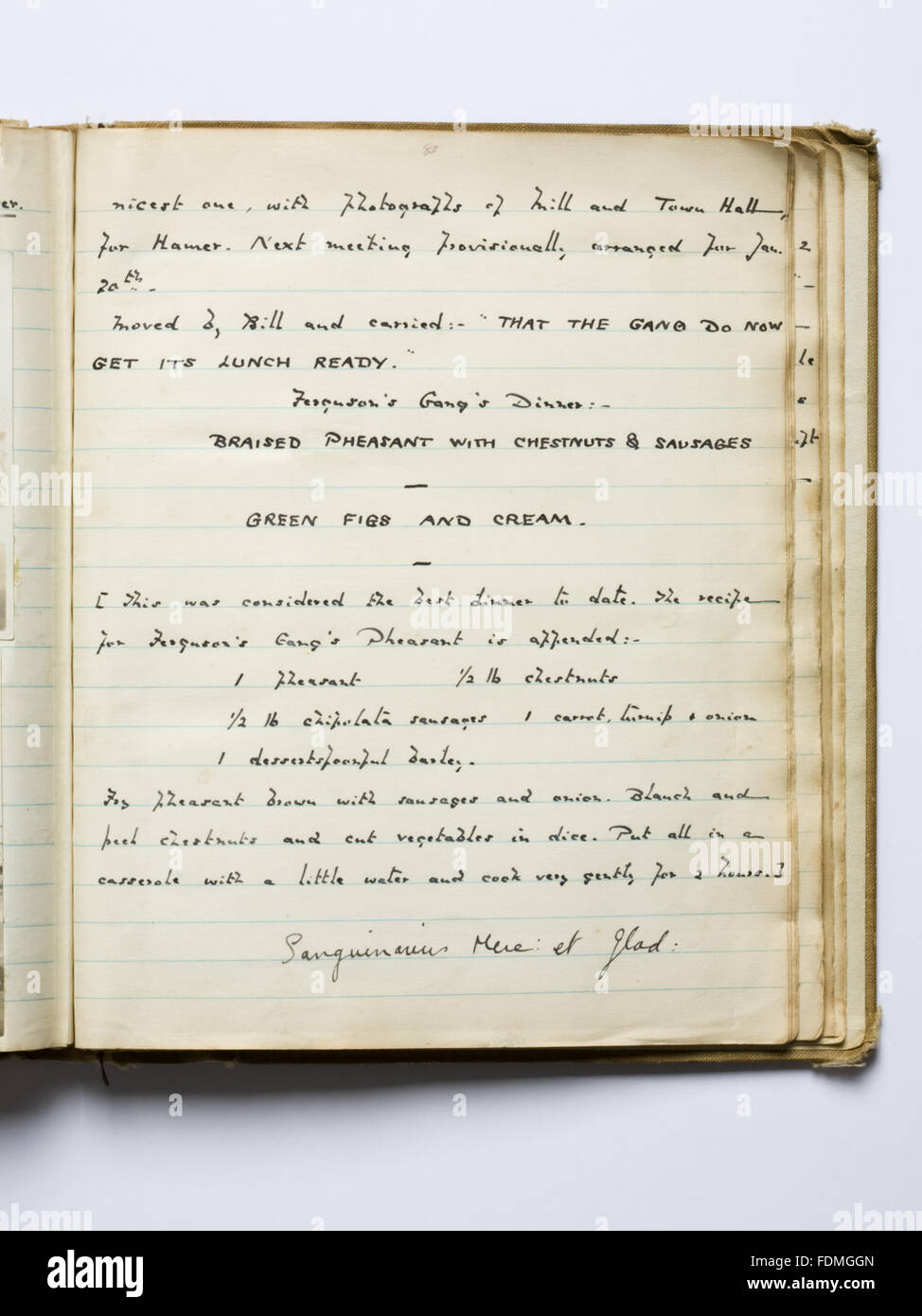 Photograph of a hand-written page of the 'Boo' (book) detailing a lunch recipe of  Ferguson's Gang who - Stock Image
