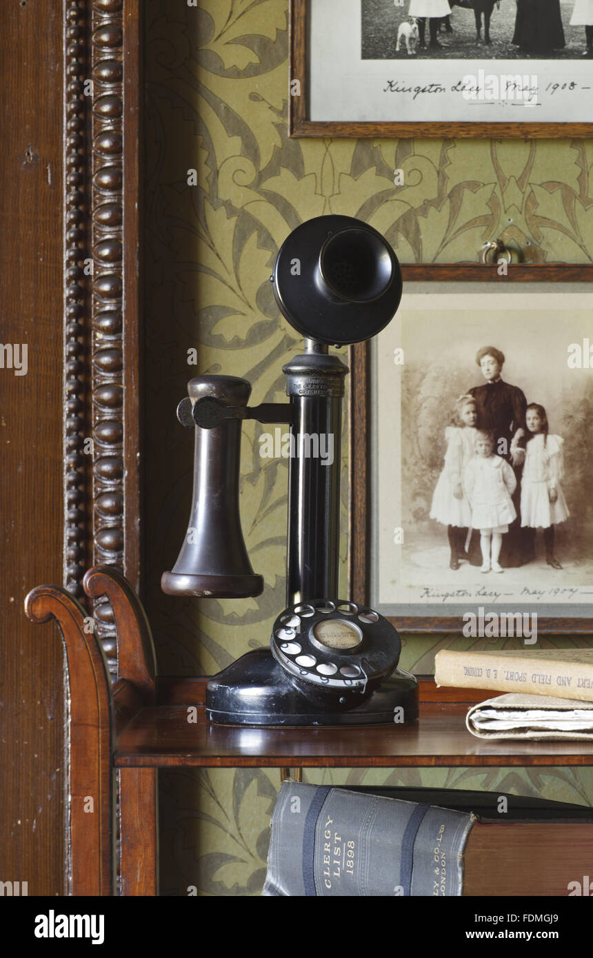 Bakelite upright telephone made by G.E.Co. Ltd., in the State Bedroom at Kingston Lacy, Dorset. - Stock Image