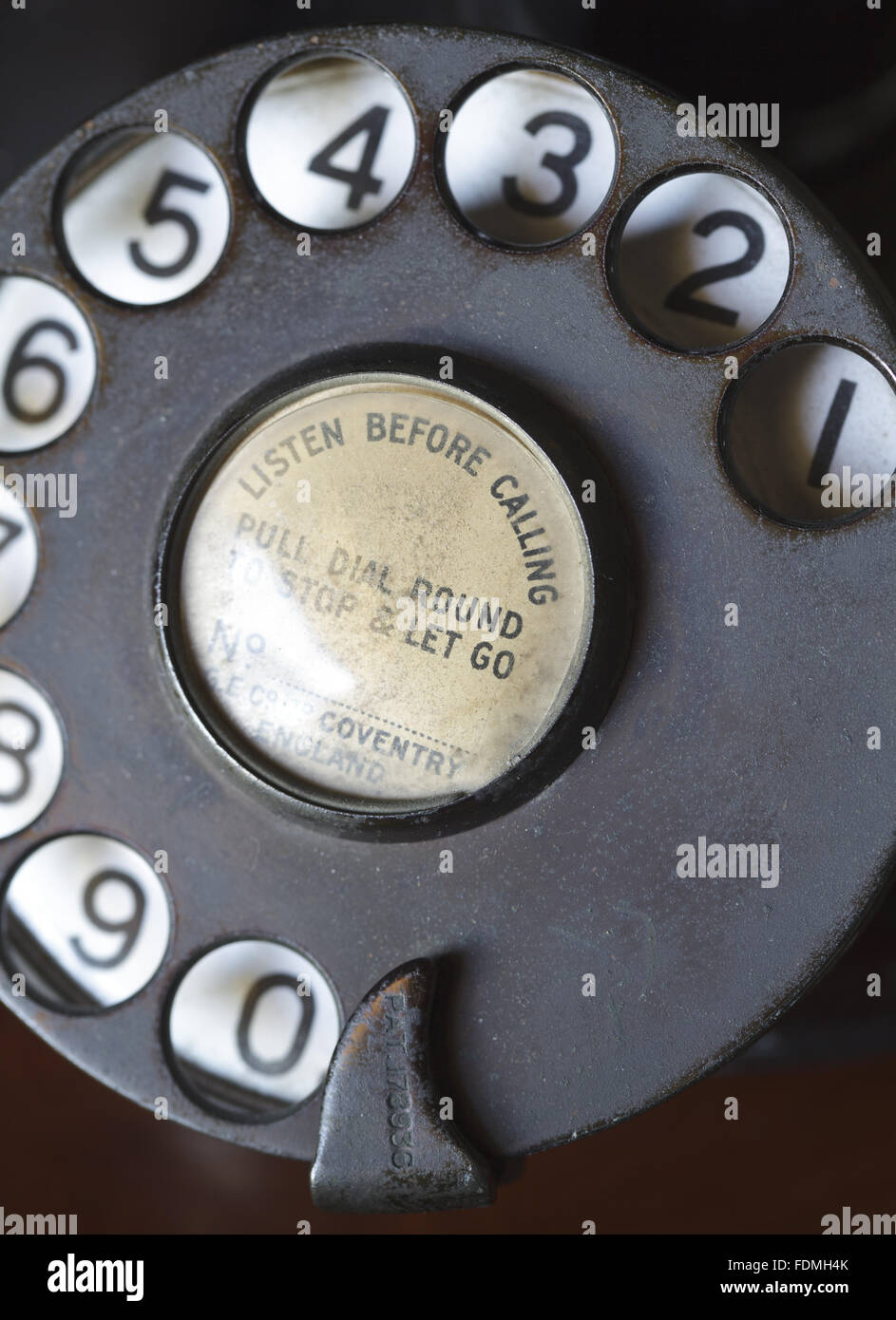 Close view of the dial of a Bakelite upright telephone made by G.E.Co. Ltd., at Kingston Lacy, Dorset. - Stock Image