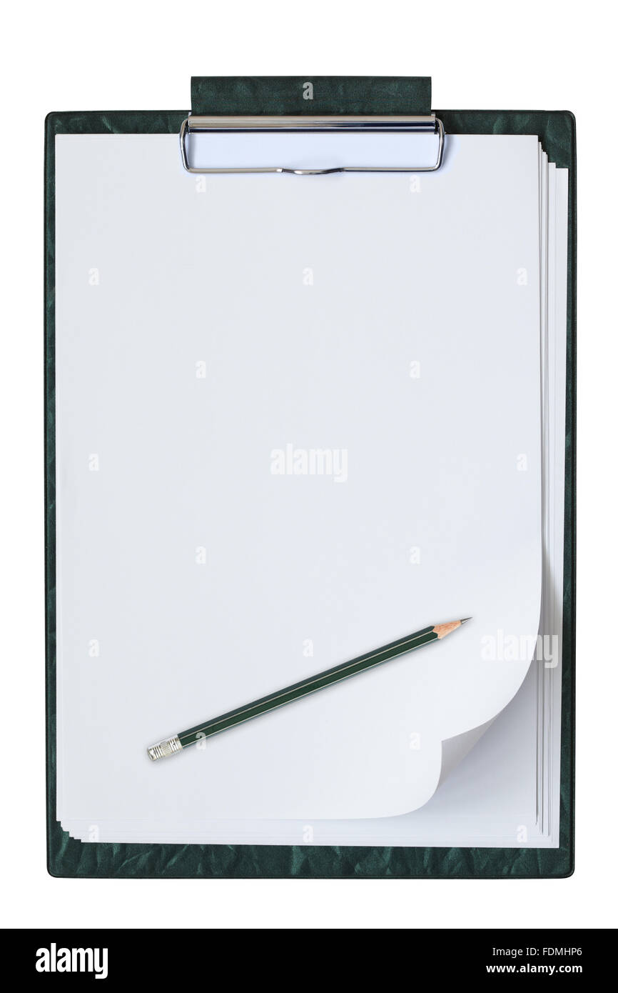 Clipboard with sheet of paper and pencil isolated on the white background. - Stock Image