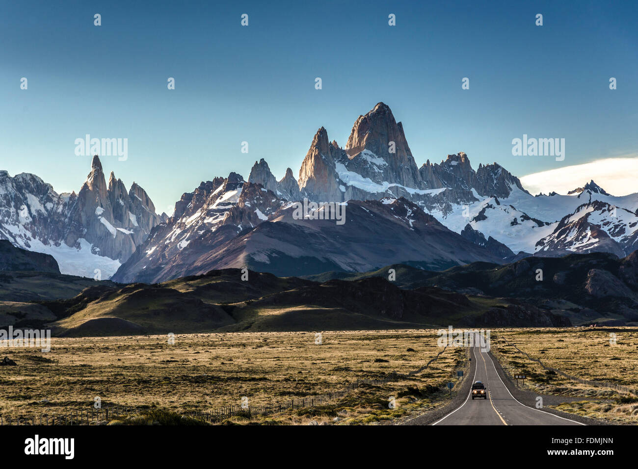 National Route 40 overlooking Monte Fitz Roy also known as the bottom Chalten - Stock Image