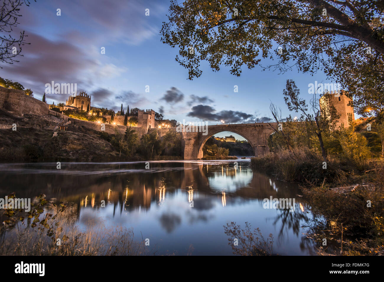 Puente de San Martin on the River Tajo / Tejo - Bridge XIV century gothic style - Stock Image