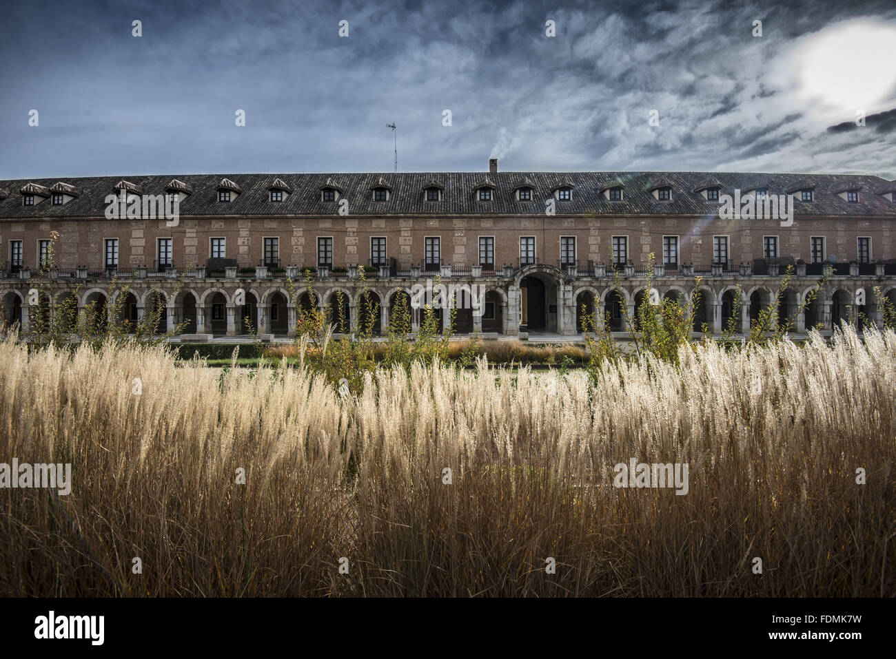 House Offices y Caballeros of the sixteenth century with flower garden in foreground - Stock Image