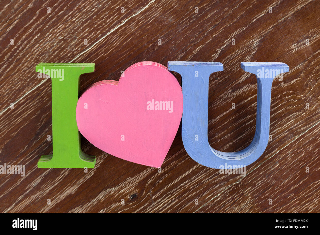 I love you wooden - Stock Image