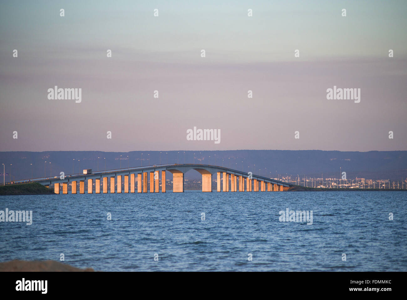 Cardoso Bridge of Friendship and national integration across Lake Palms - Stock Image