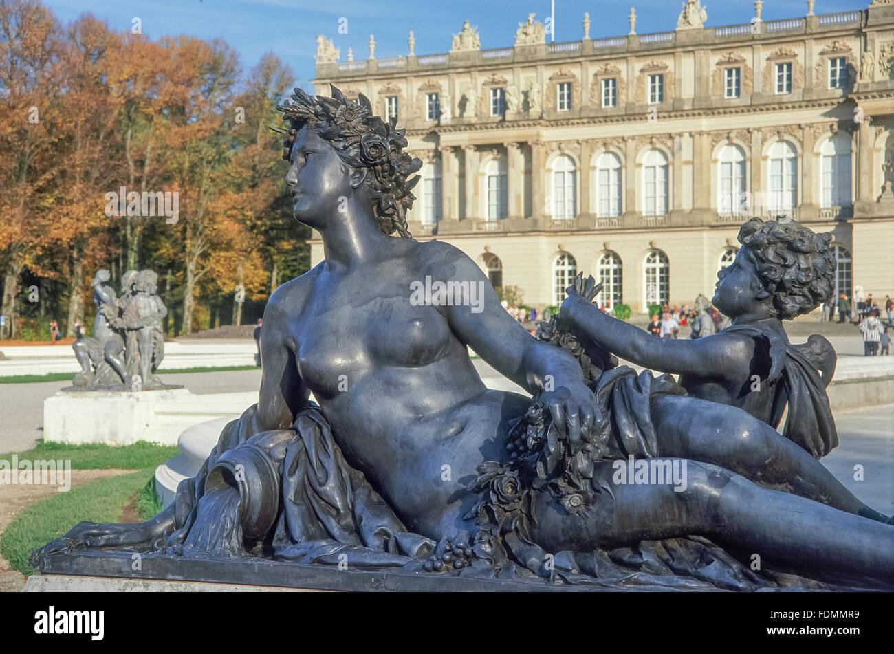 fountain figurine,herrenchiemsee - Stock Image