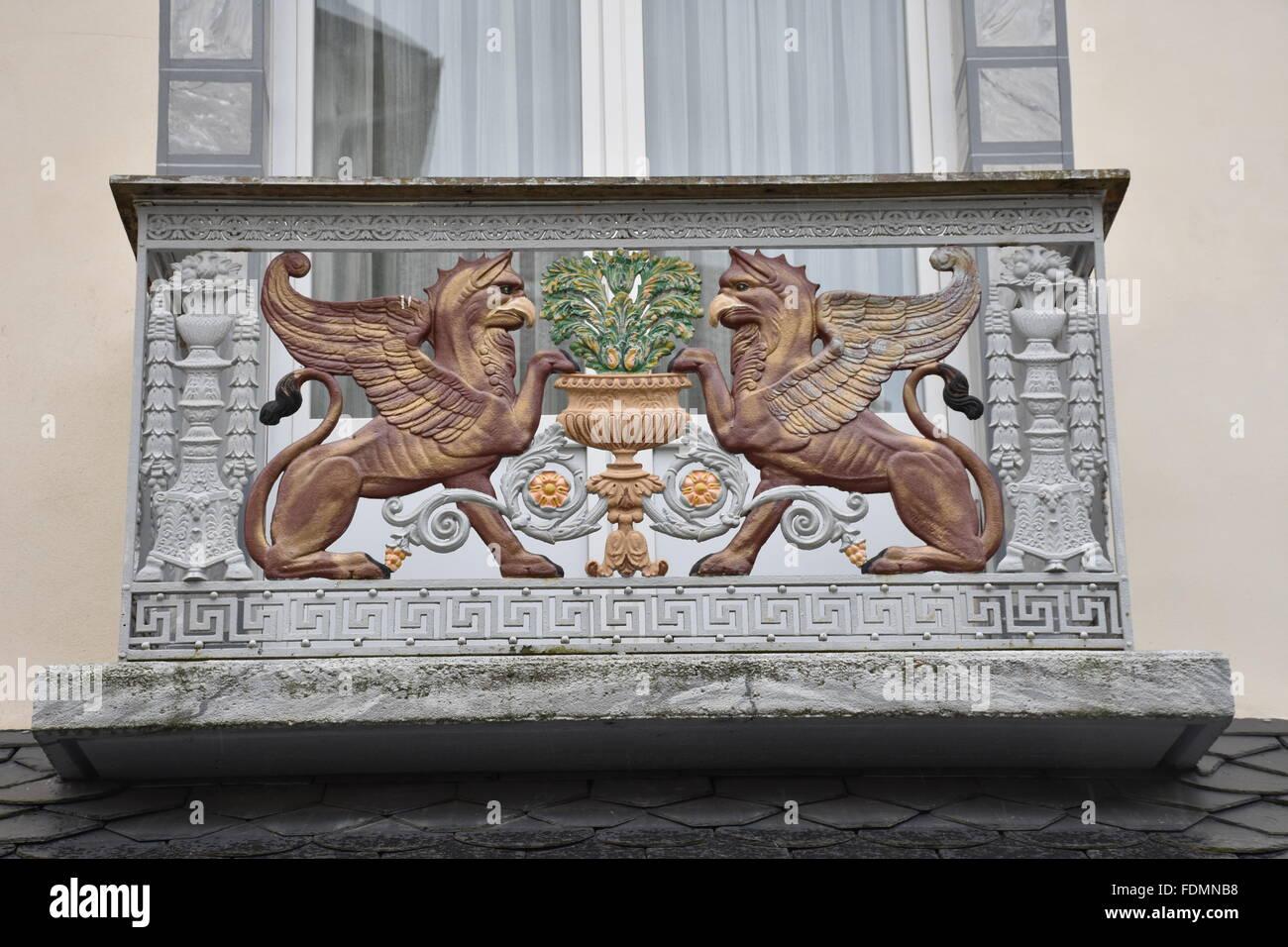 Balcony showing two griffins, Cauterets, Hautes-Pyrénées (65) France - Stock Image