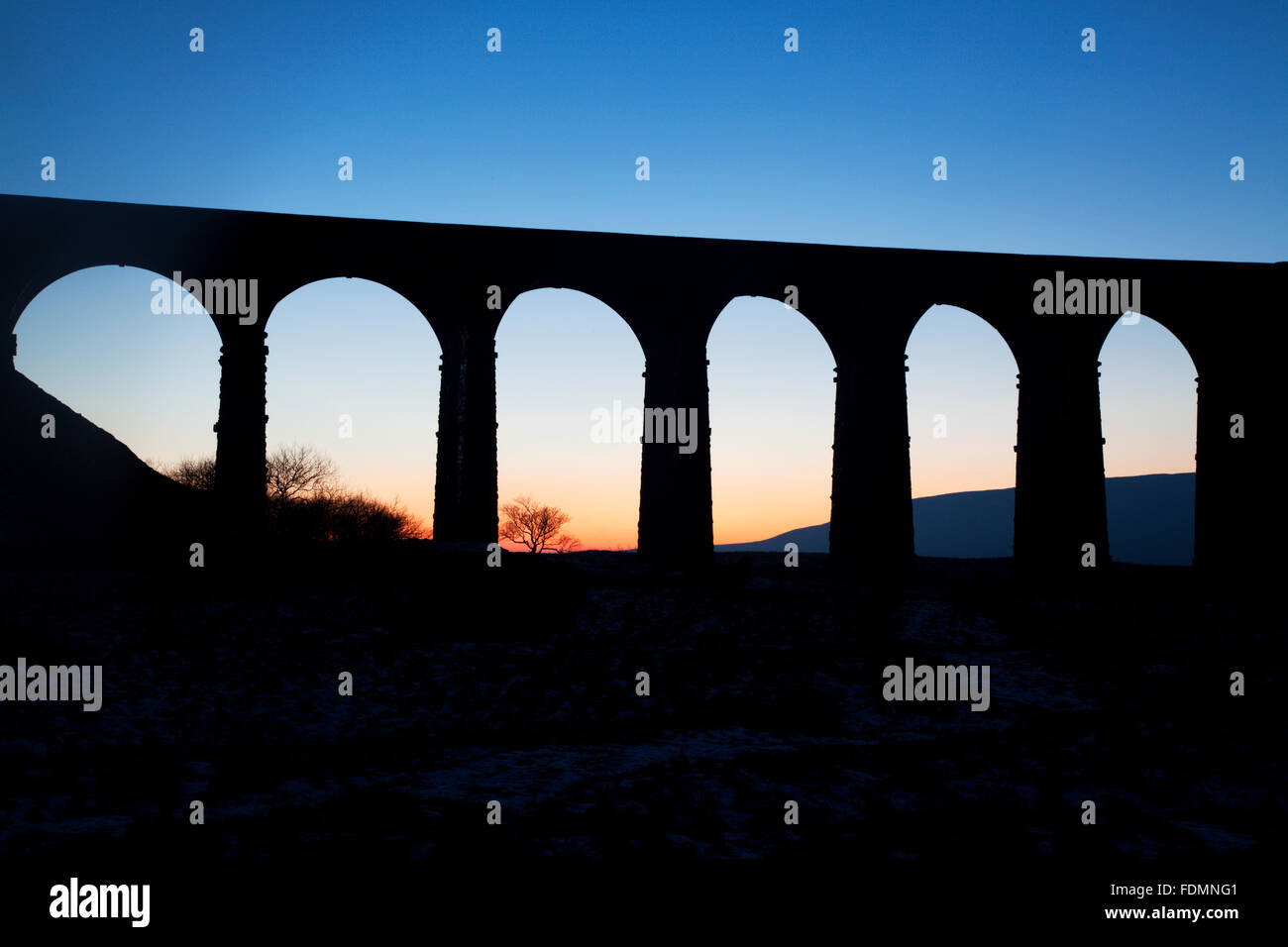 Arches of the Ribblehead Viaduct at Dusk Ribblehead Yorkshire Dales England - Stock Image