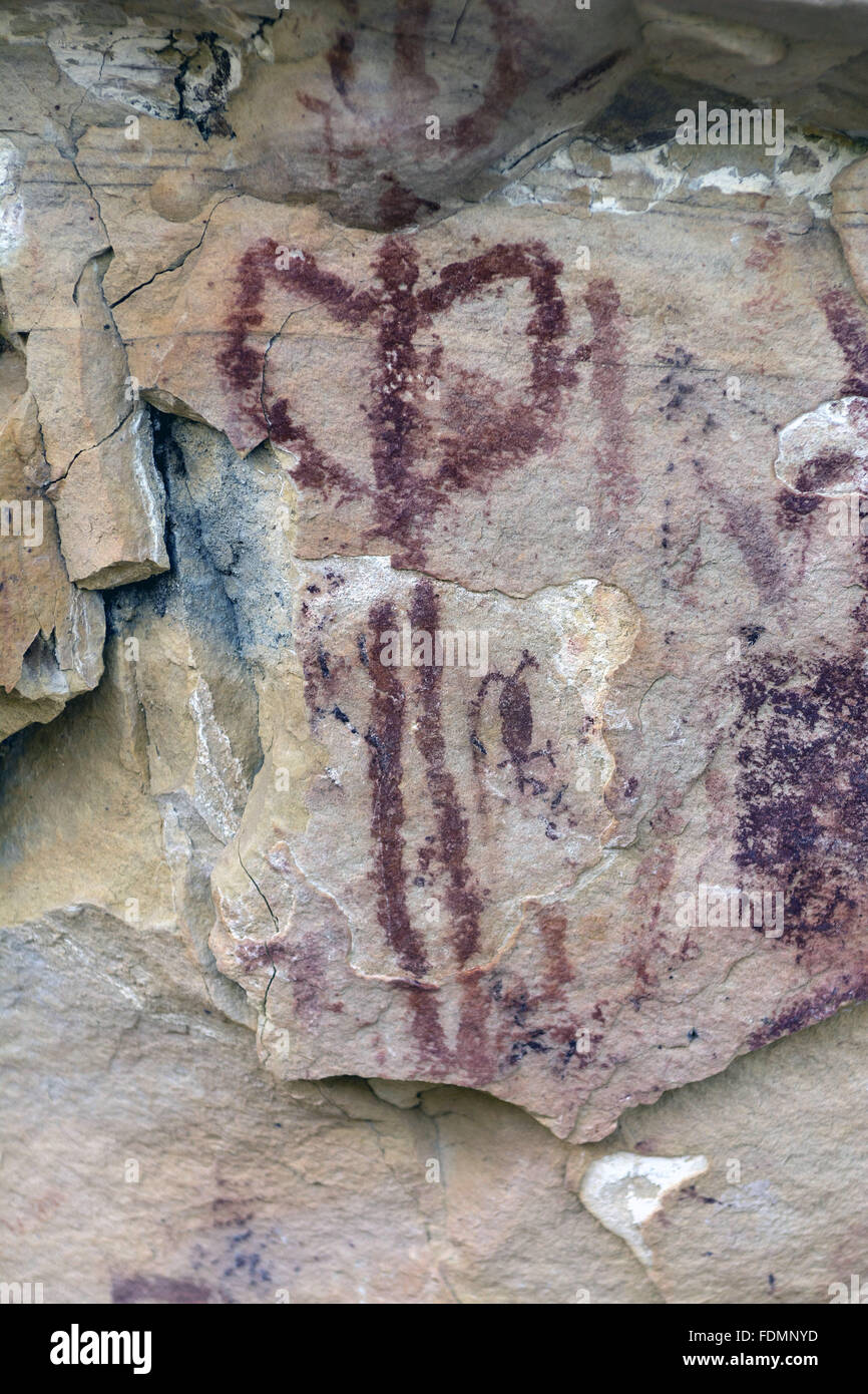 Paintings tradition northeast of Rock Art, wild and geometric - Archaeological Site Torres - Stock Image