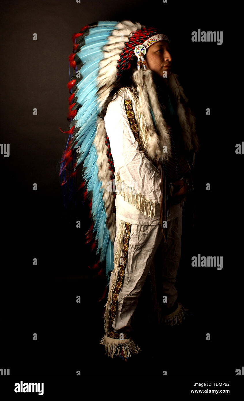 american tribal culture,tribal chief - Stock Image