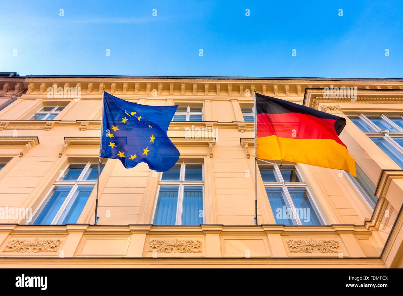 european community,german flag,european union flag - Stock Image