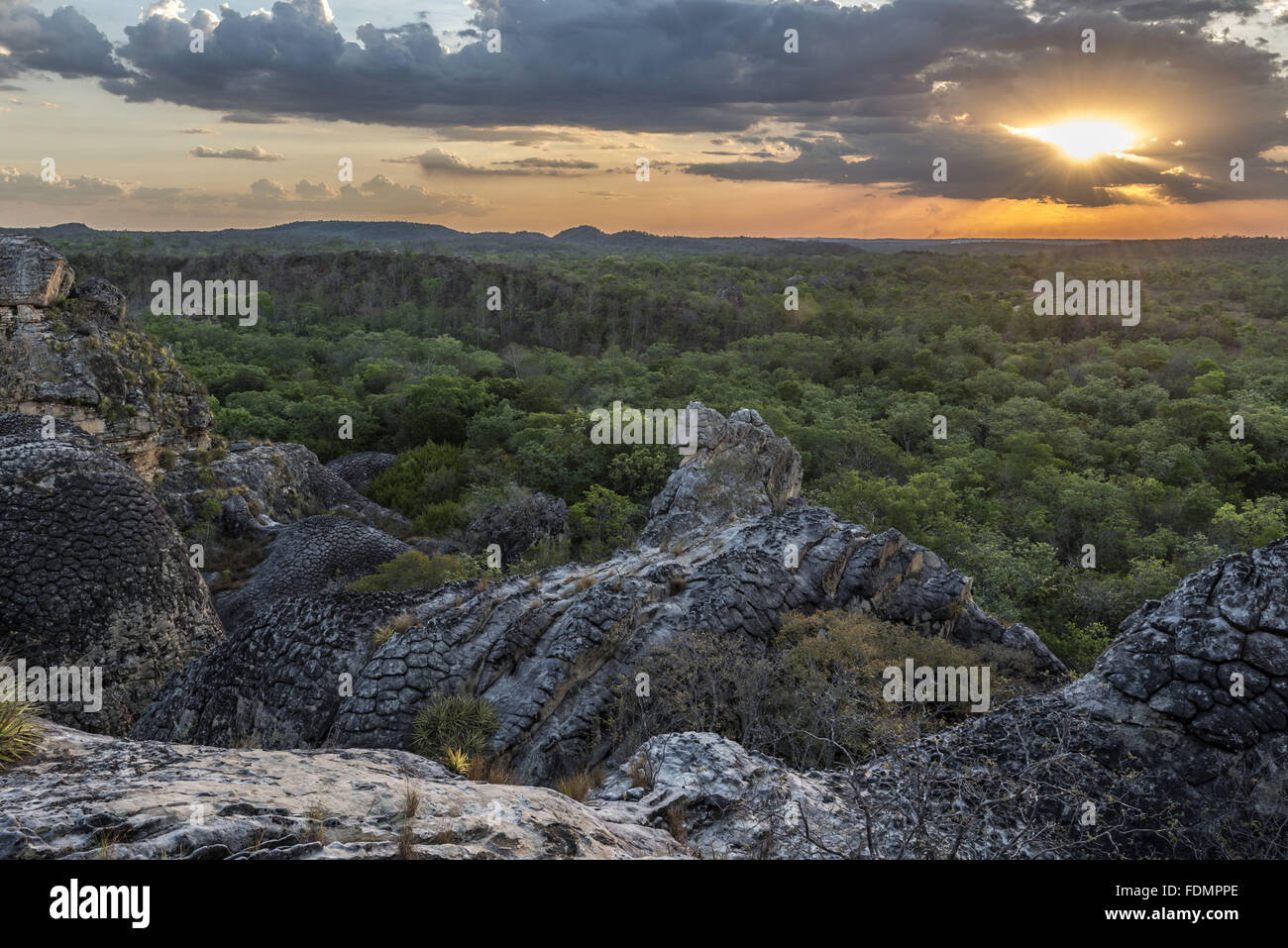Viewpoint of the view of the National Park of Seven Cities - Second City - Stock Image