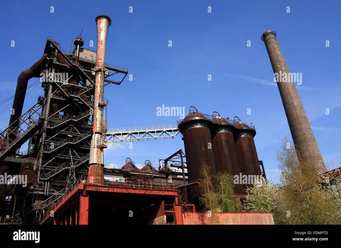 industry,industrial building,blast,industrial monuments,industrial heritage,landschaftspark duisburg nord,ironworks - Stock Image