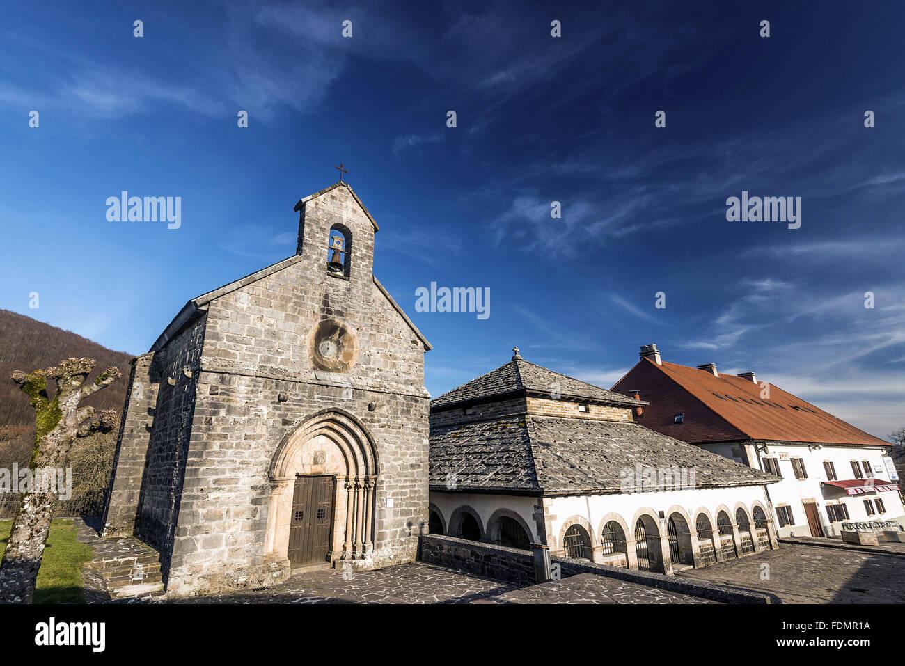 Church of Santiago de Los Pilgrims on the French Route of the Camino de Santiago de Compostela - Stock Image